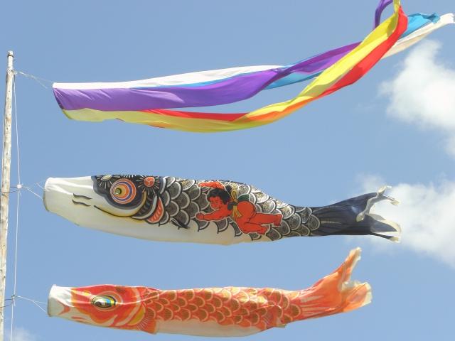鯉幟(吹流し、真鯉、緋鯉)