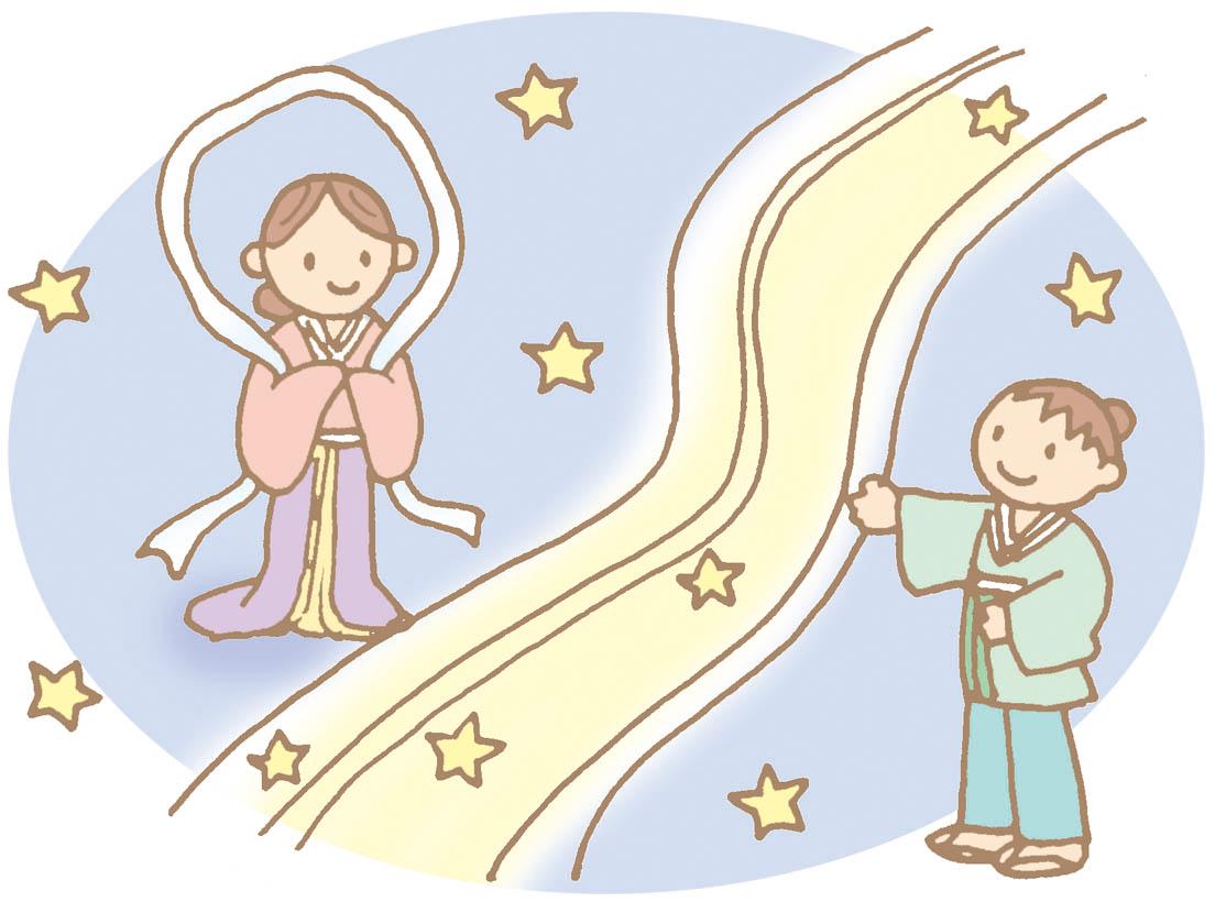 天の川をはさんで向かい合う織姫と彦星