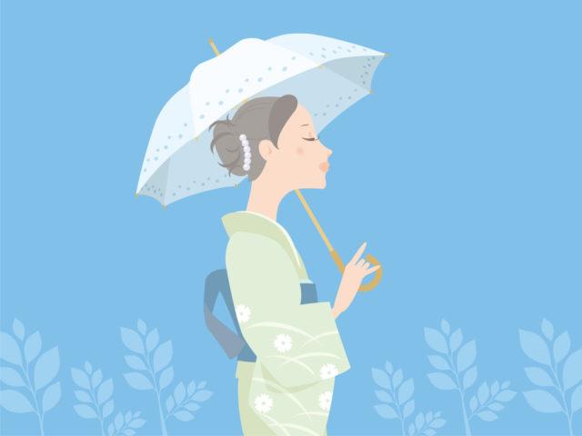 和服を着た女性が日傘を差して、涼し気に佇んでいる